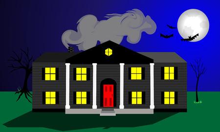 Large spooky house with large white columns. Full moon and flying bats at a creepy atmosphere to this design. Seperate elements. File is layered. EPS 10. Stock Photo