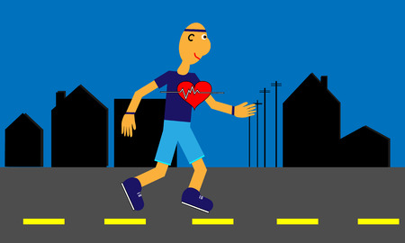 Cartoon man jogs through the city streets for his heart health which is shown in large icon. Pixel Perfect. Seperate elements. File is layered. EPS 10.