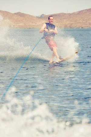 Man is wakeboarding. Banco de Imagens