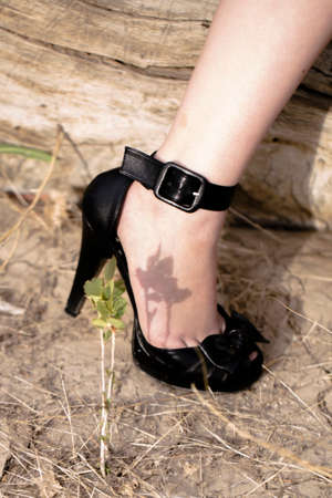 heel strap: Fashionable black high heels, pin up style.