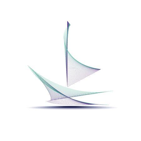 Barca a vela astratta progettata utilizzando linee e colori combinati in stile astratto Vettoriali