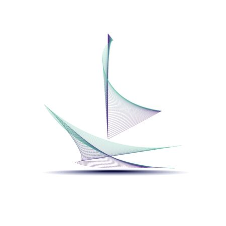 barco de vela diseñado resumen mediante el uso de líneas y colores combinados en estilo abstracto Ilustración de vector