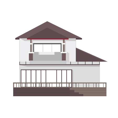 front of house: Vector illustration 2-storey building
