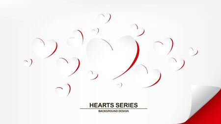 Vector illustration peeling paper white paper on red paper into become heart shape background design