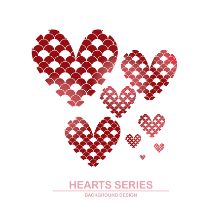 Vector illustration heart series designed with wave pattern combined in heart shape Illustration
