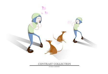 percepción: Vector representan contraste de percepción de una mujer que se aman el perro marrón lindo como animal de compañía, pero odio mismo tipo de perro como un perro callejero Vectores