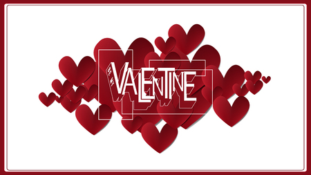 Vector illustrate paper red heart be my Valentine