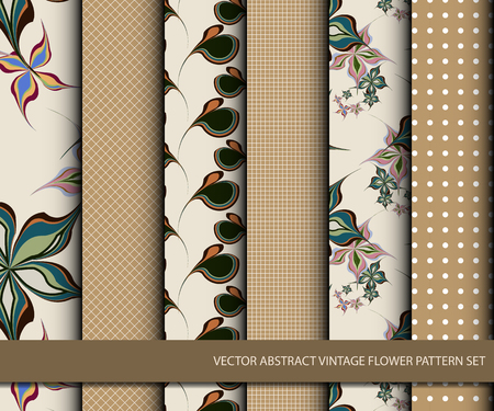 Vector abstract vintage flower pattern set, inclusive of pattern swatch inside