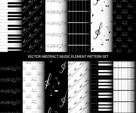 Vector abstract music element pattern set, inclusive of pattern swatch inside