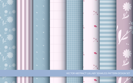 Vector abstract lullaby seamless pattern design set, inclusive of pattern swatch inside Vettoriali
