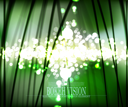 Vector abstract bokeh vision in the forrest background design,  illuminated light effect Illustration