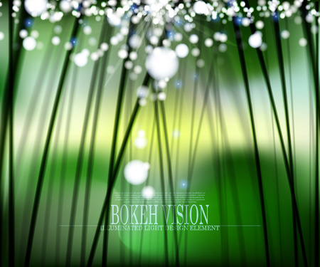 Vector abstract bokeh vision in the forrest background design II,  illuminated light effect