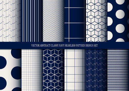 vector abstract classy navy seamless pattern set, inclusive of pattern swatch