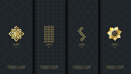Packaging template of exotic Thai pattern design element concept elegant background vector design, inclusive of pattern swatch