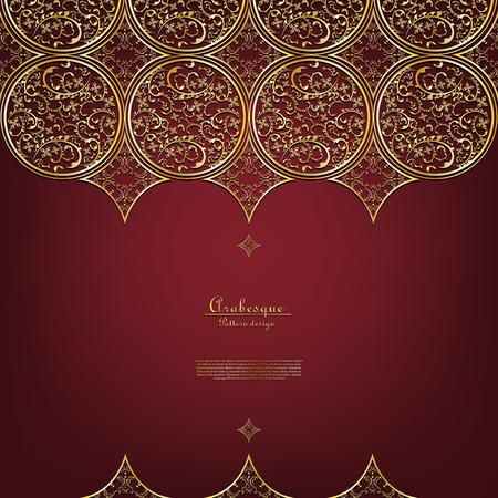 Arabesque Thai element elegant gold background border vector design