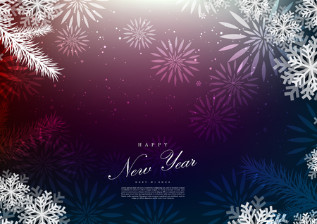 Happy new year firework decoration background template vector design Ilustração