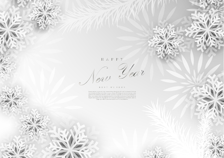 Happy new year white winter docoration background template vector design
