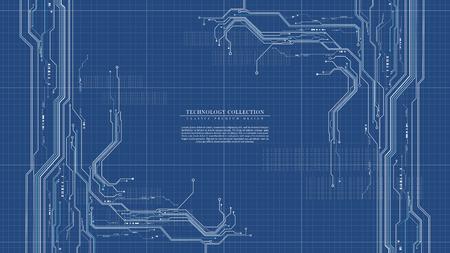 Abstract digital technology futuristic engineering blueprint background vector design