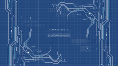 Conception de vecteur d'arrière-plan de plan d'ingénierie futuriste de technologie numérique abstraite