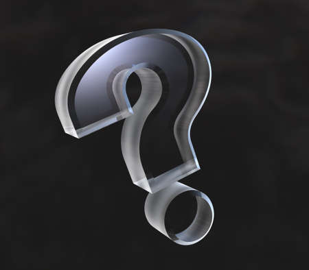 require: question mark, help symbol in transparent glass (3d) Stock Photo