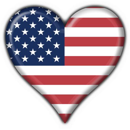 usa american button flag heart shape Stock Photo - 1676492
