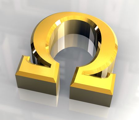 illustrates: omega symbol in gold (3d)