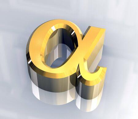 Alpha simbolo in oro (3d)