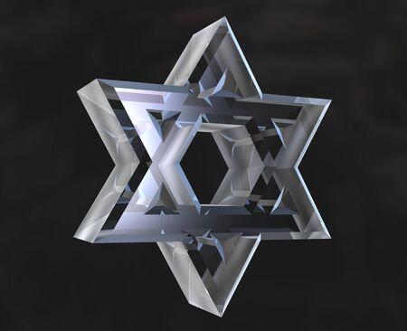 Star of David Symbol in glass - 3d photo