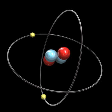 3d Helium Atom - black Stock Photo - 3919102