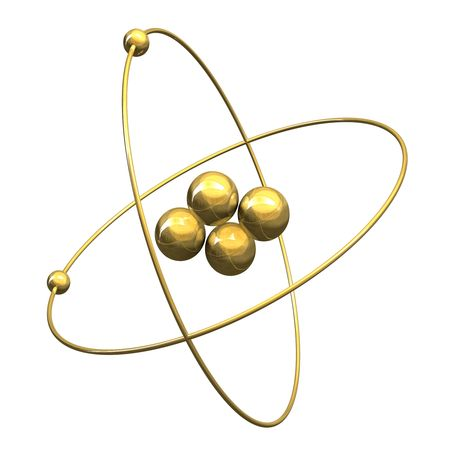 3d Helium Atom in gold photo