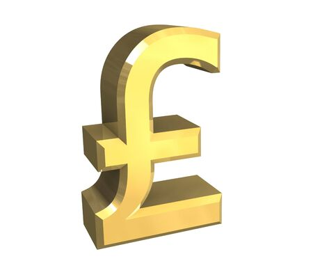 mortgage rates: isolated pound symbol in gold (3D) Stock Photo