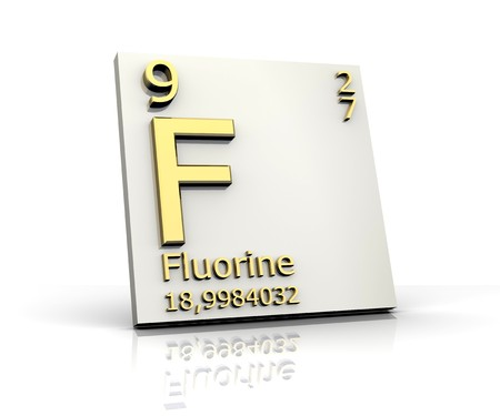 mendeleev: fluorine form Periodic Table of Elements Stock Photo