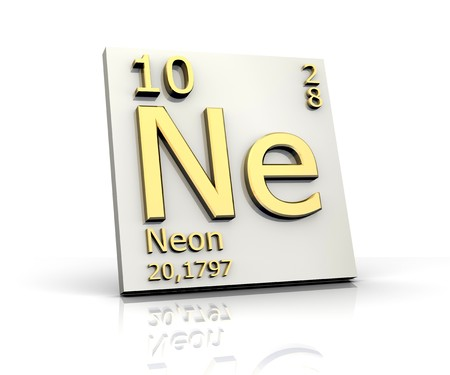 Neon form Periodic Table of Elements Stock Photo