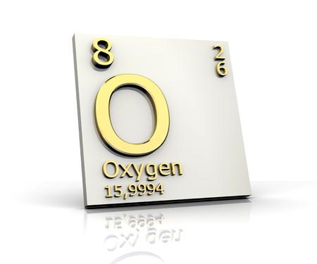 mendeleev: Oxygen form Periodic Table of Elements Stock Photo
