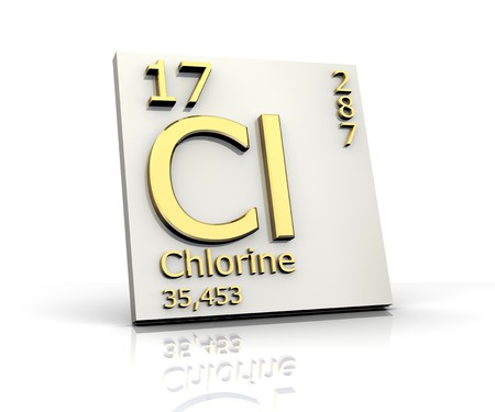 Chlorine form Periodic Table of Elements Stock Photo