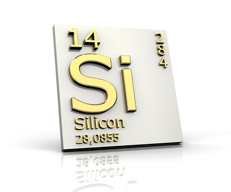 mendeleev: Silicon form Periodic Table of Elements Stock Photo