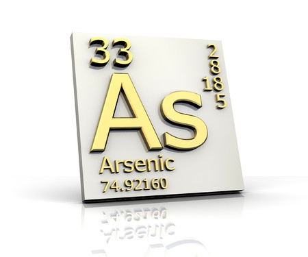 periodic:  Arsenic form Periodic Table of Elements Stock Photo