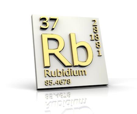 Rubidium form Periodic Table of Elements Stock Photo