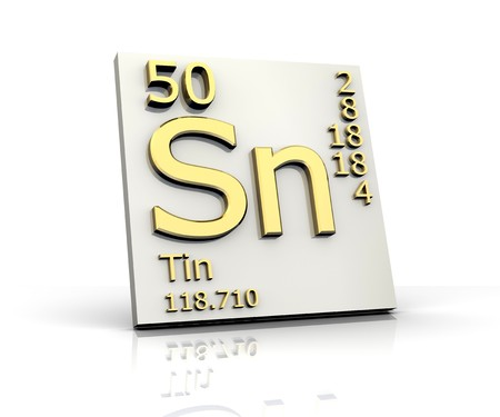 Tin form Periodic Table of Elements Stock Photo