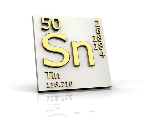 Zinn Form Periodensystem der Elemente Standard-Bild - 4315564