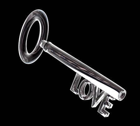 key in glass LOVE text 3d made Stock Photo - 4320143