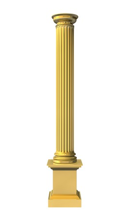 3d rendered illustration of a gold column Stock Photo