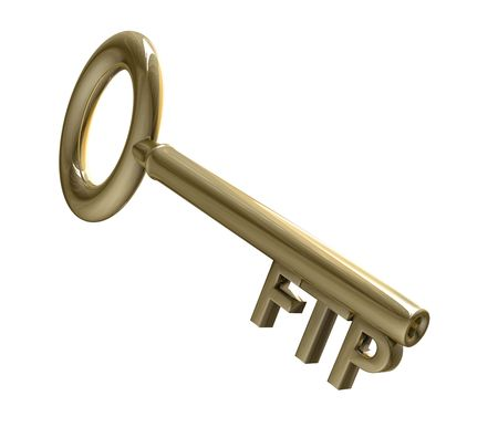 ftp: key in gold with FTP text 3d made