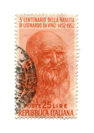 Postage stamp from Italy dated 1952 with Leonardo Da Vinci photo