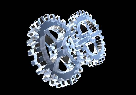 two gears in glass - 3D made photo