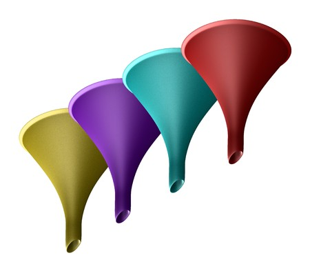 Colored Funnels in plastic - 3d made Stock Photo - 4361304