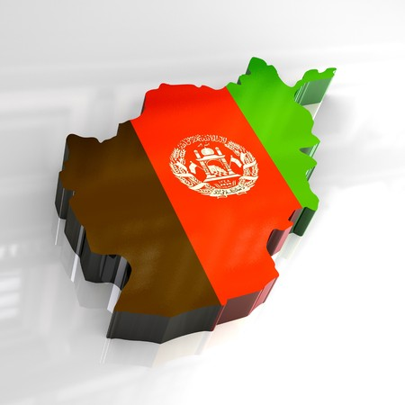 3d flag map of afghanistan photo