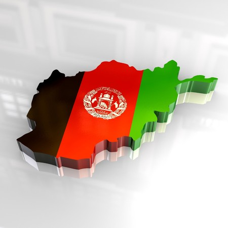 3d flag map of afghanistan Stock Photo