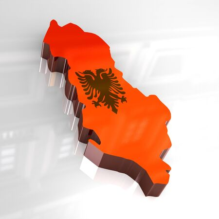3d flag map of albania photo