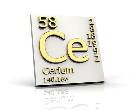 Cerium form Periodic Table of Elements Stock Photo